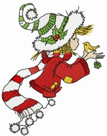 Christmas elf sings with bird machine embroidery design