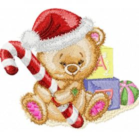 Christmas Teddy Bear with Gifts machine embroidery design