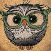 Bath towel with Owl embroidery design