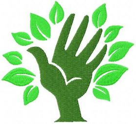 green hand free machine embroidery design