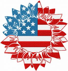 American sunflower embroidery design
