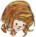 Cute red hair girl embroidery design