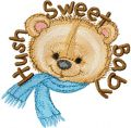 Bear Hush Sweet Baby  embroidery design