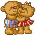 Teddy bear's friendship embroidery design