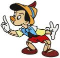 Pinocchio be quite embroidery design