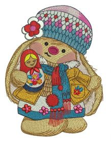 Bunny Mi with matrioshka 2 machine embroidery design