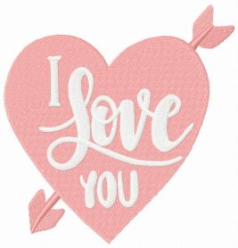 Cute I LOVE YOU heart machine embroidery design