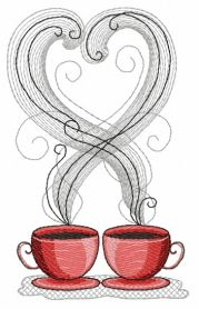 Coffee cups 2 machine embroidery design