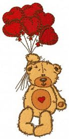 Teddy bear I love you machine embroidery design