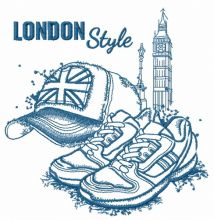 London style: cap and sneakers sketch