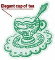 Elegant cup of tea embroidery design