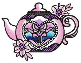 Chinese porcelain teapot machine embroidery design