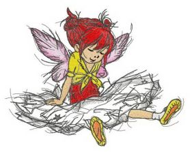 Girl fairy sitting machine embroidery design