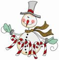 Snowman with candy cane garland 3 embroidery design