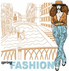 Spring Fashion machine embroidery design