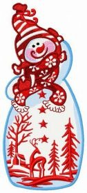 Fancy snowman machine embroidery design