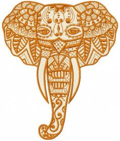 Elephant with tribal embroidery design