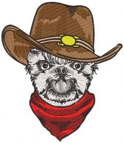 Dog cowboy embroidery design