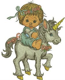 Girl riding unicorn machine embroidery design