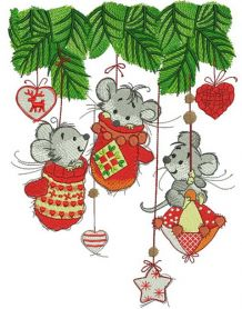 Christmas mice machine embroidery design