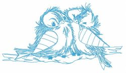 Funny couple of sparrows sketch embroidery design