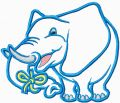 Big Blue Elephant Free machine embroidery design