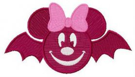 Minnie bat machine embroidery design