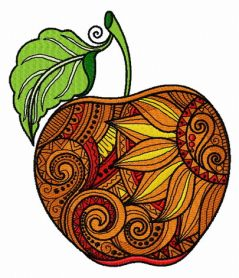 Mosaic apple machine embroidery design
