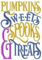 Pumpkins, sweets, spooks & treats embroidery design