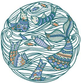 fish time embroidery design 2