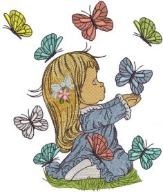 Cute girl with butterflies embroidery design