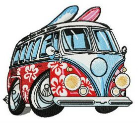 Aloha van machine embroidery design