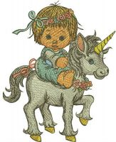 Girl riding unicorn