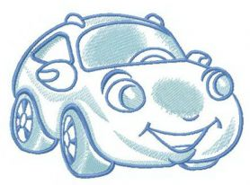 Plump car machine embroidery design