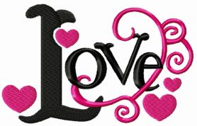 Love black and pink machine embroidery design