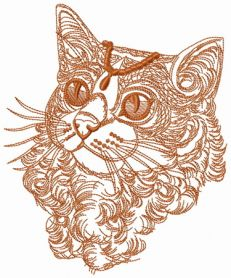 Curly cat one color machine embroidery design