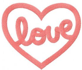 Pink love heart embroidery design