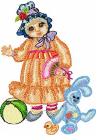 Doll with Toys machine embroidery design