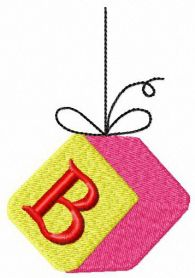 Cube with letter B machine embroidery design