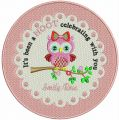 Cute owl doily embroidery design