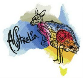 Australia is homeland of kangaroo embroidery design