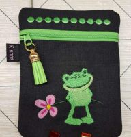 Mobile case with cute froglet forget me not embroidery design