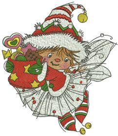 Santa's fairy machine embroidery design