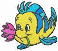 Flounder with flower embroidery design