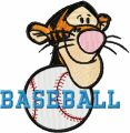 Tigger Baseball Logo embroidery design