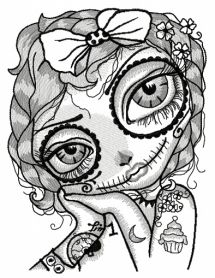 Dead girl with cupcake tattoo machine embroidery design