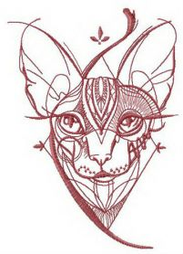 Sketch of Sphynx cat machine embroidery design