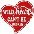 Wild hearts can't be broken free embroidery design