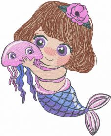 Mermaid with medusa embroidery design