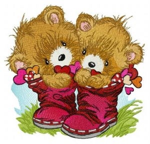 Teddy bears in boots